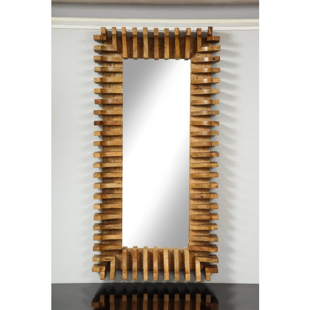 French Unusual Slatted Wooden Mirror For Sale - Image 3 of 8