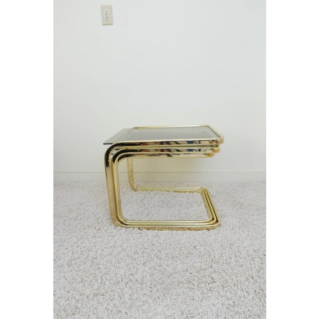 1970s Mid Century Modern Gold Steel Nesting Tables - Set of 3 For Sale - Image 4 of 9