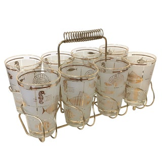 Vintage 1960's Libbey Frosted and Gold Sealife Highball Glasses in Caddy - Set of 8 For Sale