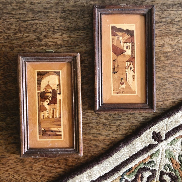 American Vintage South American Village Tiny Framed Marquetry Art - a Pair For Sale - Image 3 of 7