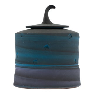 Jim Kemp Signed Studio Pottery Postmodern Lidded Jar For Sale