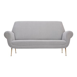 Reupholstered Grey Midcentury Sofa by Gigi Radice for Minotti For Sale