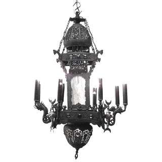 Middle Eastern Persian Iron Filigree and Brass Trimmed Chandelier For Sale