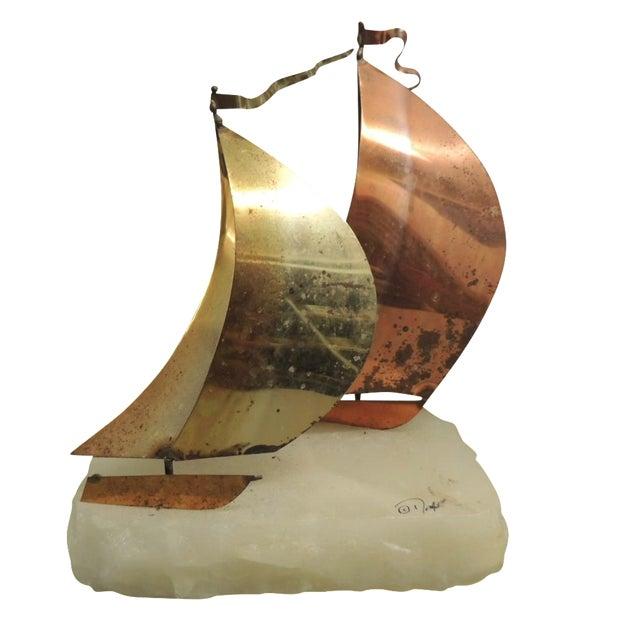 Vintage Brass & Copper Sailboat Sculpture - Image 1 of 4