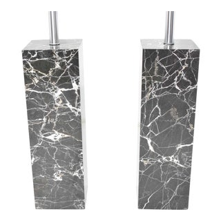 Pair of Marble Table Lamps by Nessen Studio For Sale