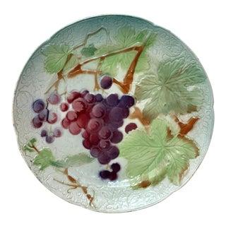 Majolica Grapes Keller & Guerin Saint Clement Plate For Sale