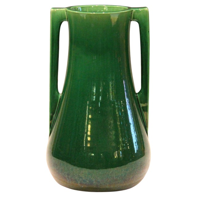 Awaji Pottery Architectural Buttress Handle Arts & Crafts Green Monochrome Vase For Sale