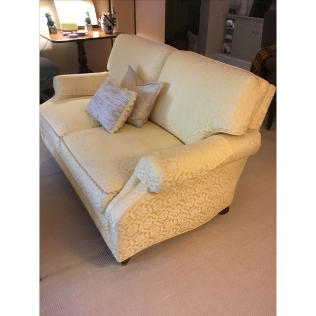 Yellow Damask Loveseats - A Pair - Image 5 of 5