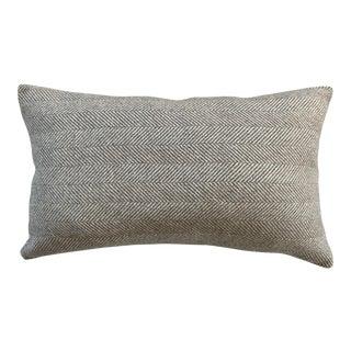 Contemporary FirmaMenta Brown Herringbone Wool Lumbar Pillow For Sale