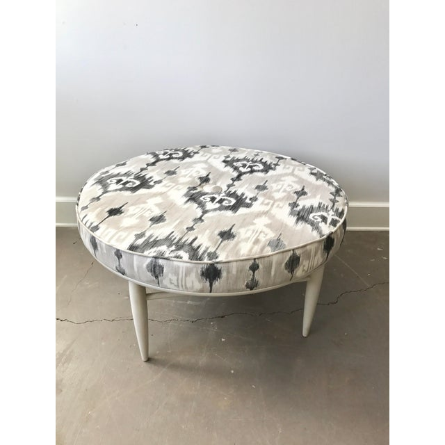 Mid-Century Ikat Ottoman For Sale - Image 5 of 5