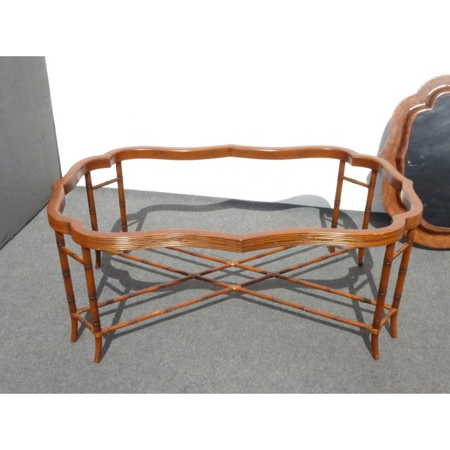Maitland-Smith Rattan & Leather Coffee Table - Image 9 of 11