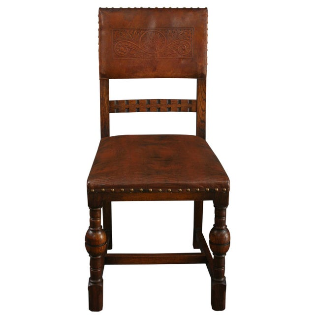 Vintage 1930 French Leather & Oak Dining Chair - Image 2 of 10