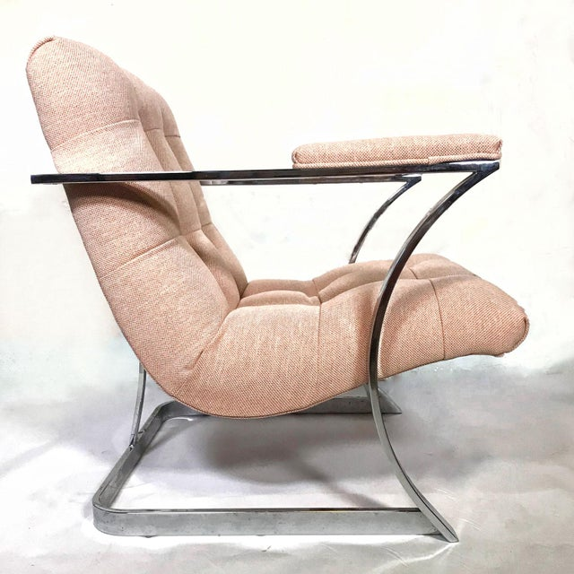 Carsons 1970s Vintage Milo Baughman for Carson's Cubist Floating Sling Chairs- A Pair For Sale - Image 4 of 5