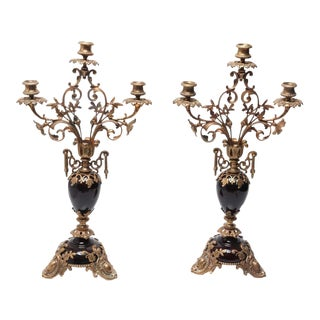 Neoclassical Style Ormolu Mounted Candelabras - a Pair For Sale