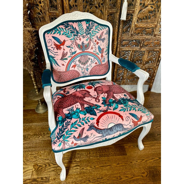 Vintage French Provincial Arm Chairs - a Pair For Sale In Columbus - Image 6 of 10