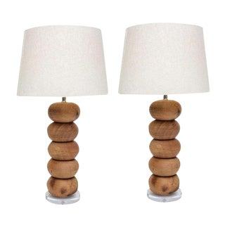 Pair of Wood Disc Lamps