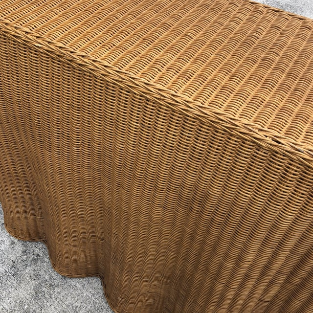 1970s Boho Chic Trompe L'oeil Rattan Skirted Console Ghost Table For Sale - Image 4 of 9