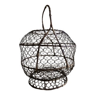 Vintage Metal Egg Basket For Sale