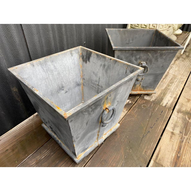 Traditional Steel Planters - a Pair For Sale - Image 3 of 8