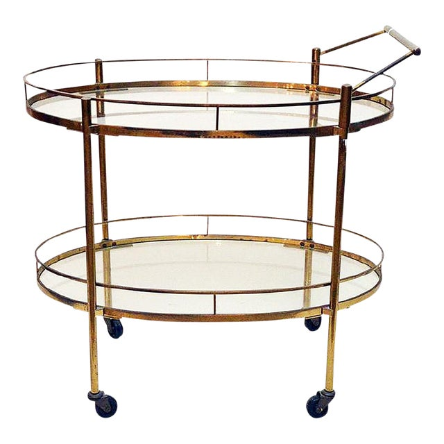 Maxwell Phillips Brass Two-Tier Tea Cart - Image 1 of 6