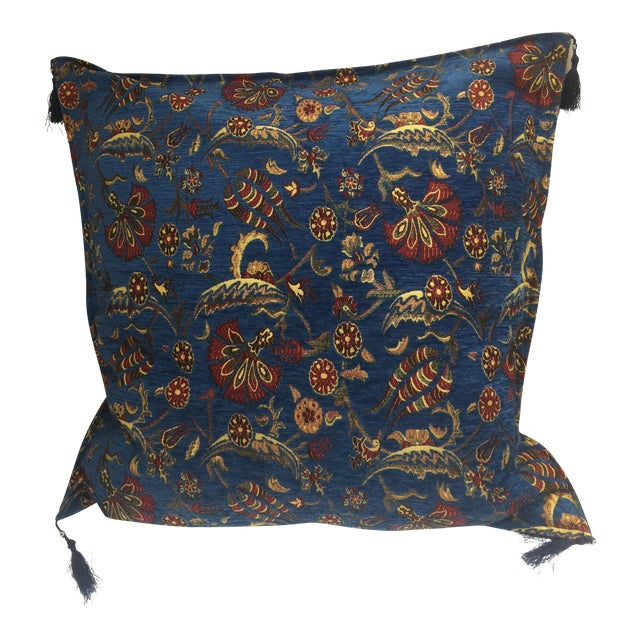 "Parliament Blue Kilim Patterned 26""x 26"" Pillow Cover For Sale"