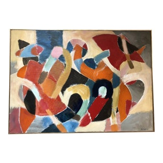 Mid-Century Modern Abstract on Canvas For Sale