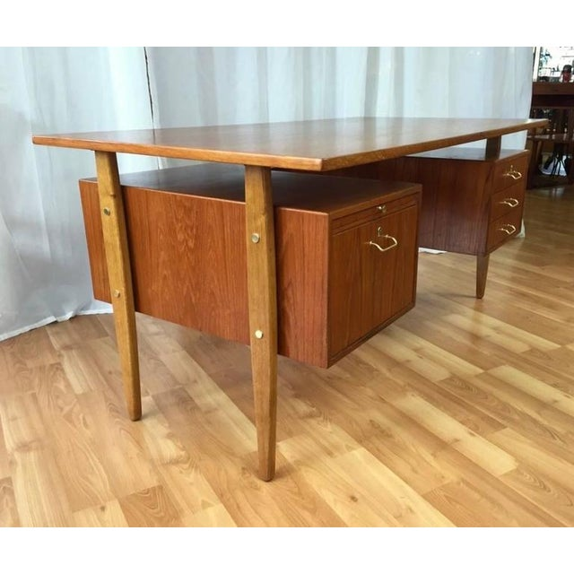 Danish Modern Teak & Oak Floating Top Executive Desk For Sale - Image 3 of 10