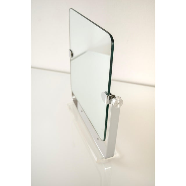 Chrome Mid Century Chrome and Lucite Adjustable Tabletop Mirror For Sale - Image 7 of 10
