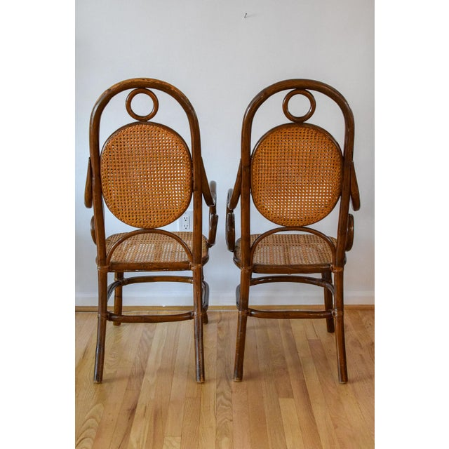 1970s Vintage Thonet Bentwood Cane Chairs- A Pair For Sale - Image 4 of 11