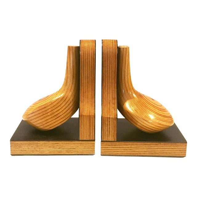 Mid-Century Wood Golf Club Bookends - A Pair - Image 1 of 6