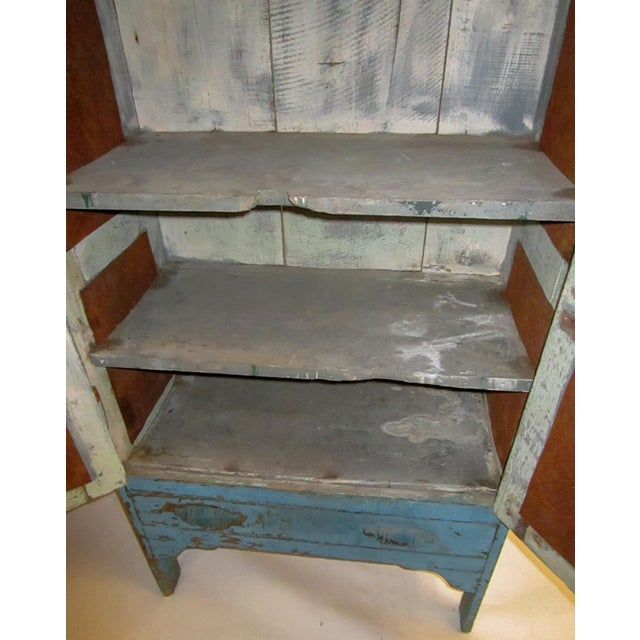 Paint 19th Century American Primitive Southern Pie Safe With Distressed Blue Paint For Sale - Image 7 of 13