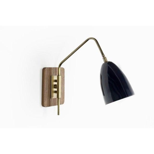 "Brass & Midnight Enamel ""Elska"" Wall Sconces For Sale - Image 11 of 12"