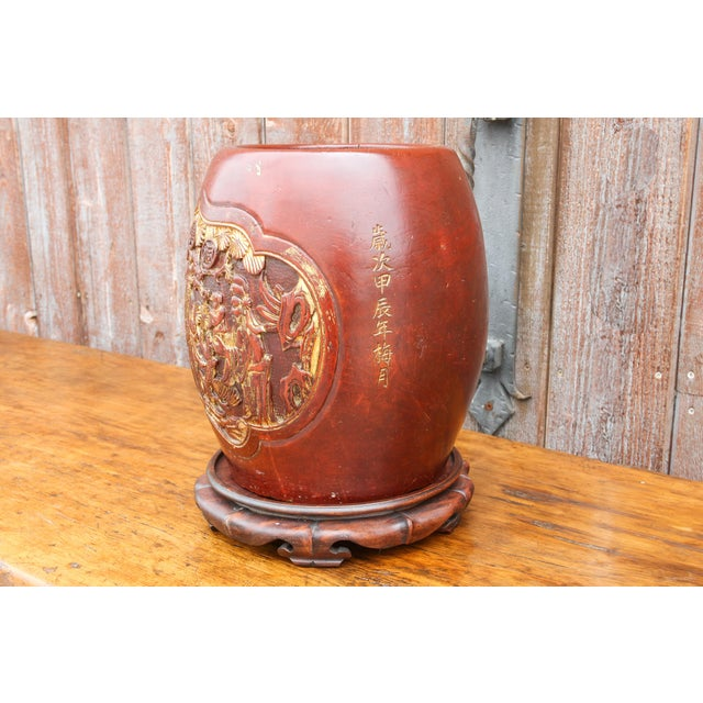 Shou Lao Carved Barrel Container on a Stand For Sale In Los Angeles - Image 6 of 11