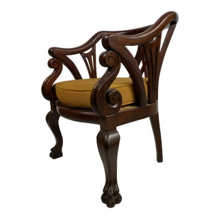 Antique Empire Mahogany Claw Foot Arm Chair For Sale