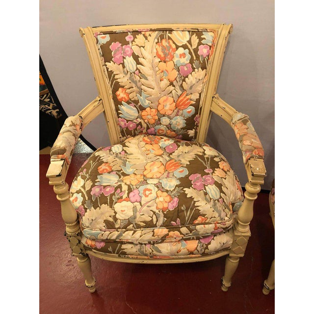 Pair of paint decorated Jansen Fauteuil with attractive fabric. Finely upholstered.Seat Height 19 inches.