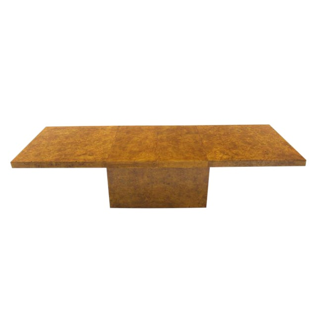 Burl Wod Single Pedestal Dining Table For Sale