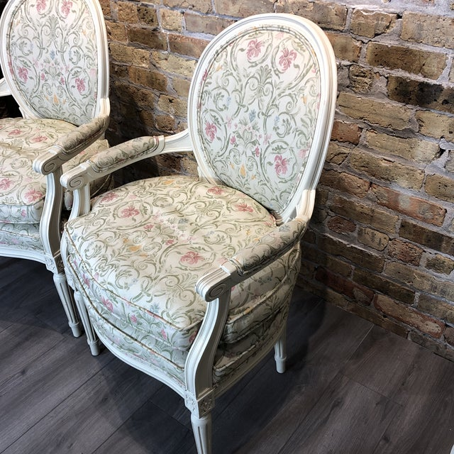 Pair of charming painted chairs with lovely upholstery with doubled welt trim. They are in good but used condition. If you...