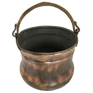 Hand-Hammered Antique Turkish Copper Cauldron With Bronze Handle For Sale
