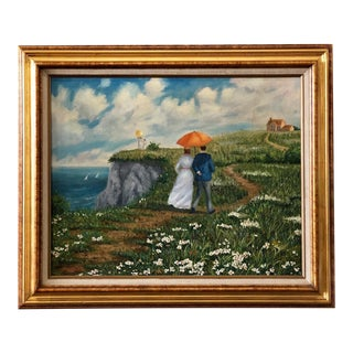 Vintage 1970s Stroll on the Countryside Painting by Angelo Hazifotis For Sale