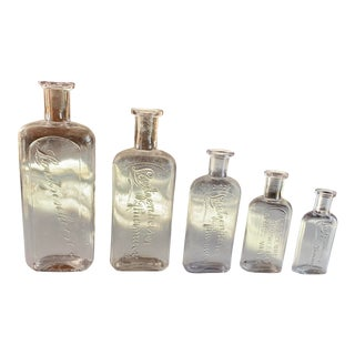 5 Antique Pharmacy Bottles, Gold Country For Sale