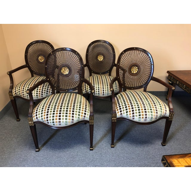 1990s Vintage Oval Caned Back Regency Style Arm or Dining Chairs- Set of 4 For Sale - Image 13 of 13