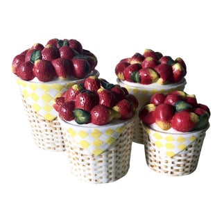 Ceramic Strawberry Basket Kitchen Canisters- Set of 4