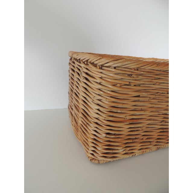 Vintage Woven Rattan Magazine or Storage Basket For Sale - Image 4 of 6