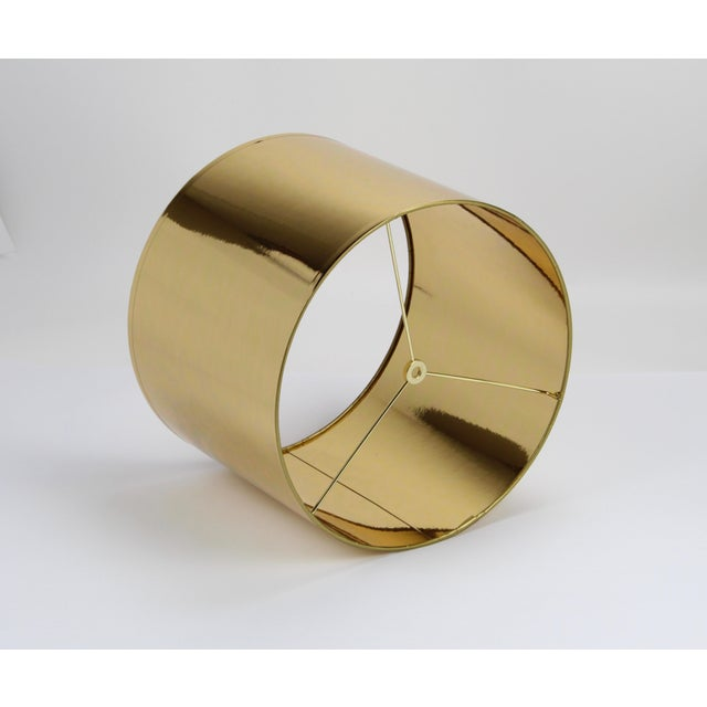 Small High Gloss Gold Drum Lampshade For Sale - Image 6 of 9