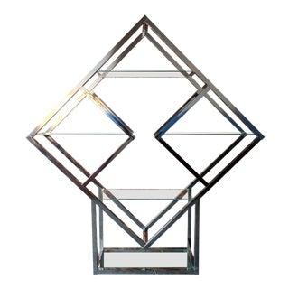 Vintage chrome geometric diamond shaped etagere