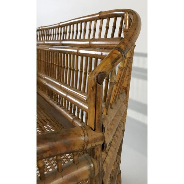 Brown Brighton Pavillion Caned Settee For Sale - Image 8 of 11