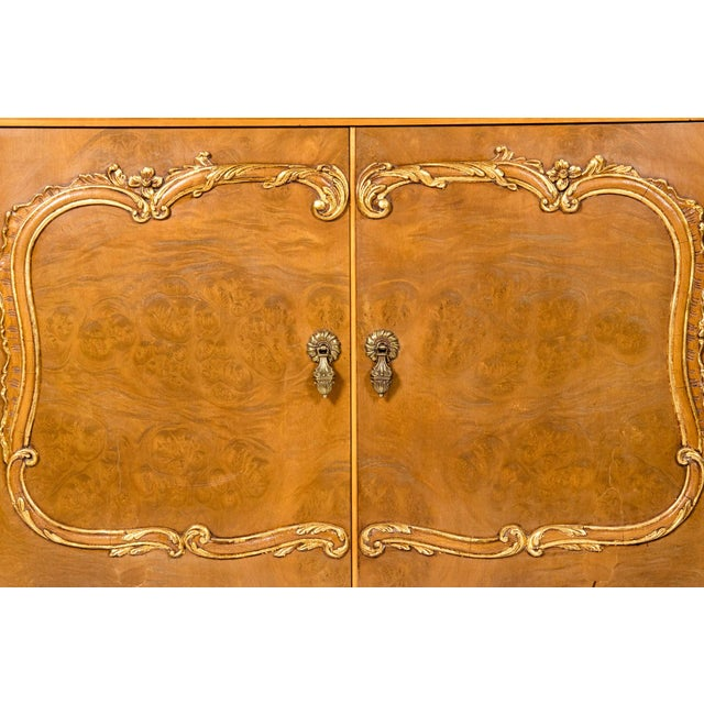 Gold 20th Century Two Parts Burlwood Hutch or China Cabinet For Sale - Image 8 of 13