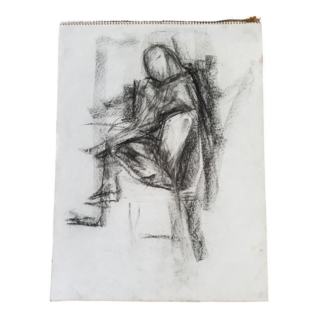 Abstract Sitting Figure Drawing - Image 1 of 3