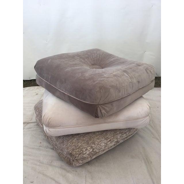 Tan Velvet Pillow Stools - Set of 3 For Sale - Image 8 of 9