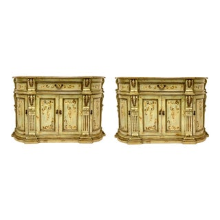Vintage Hand Painted & Carved Credenzas / Cabinets - Pair For Sale